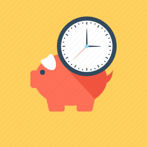 piggy, piggy bank, saving money, saving time, time is money icon