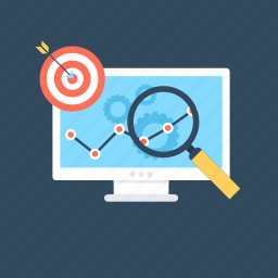 magnifying, search engine, seo, seo graph, target icon