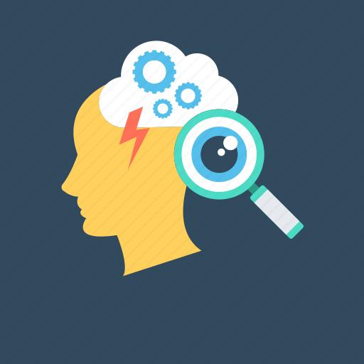 brain, brainstorming, brainwash, cerebrum, search icon