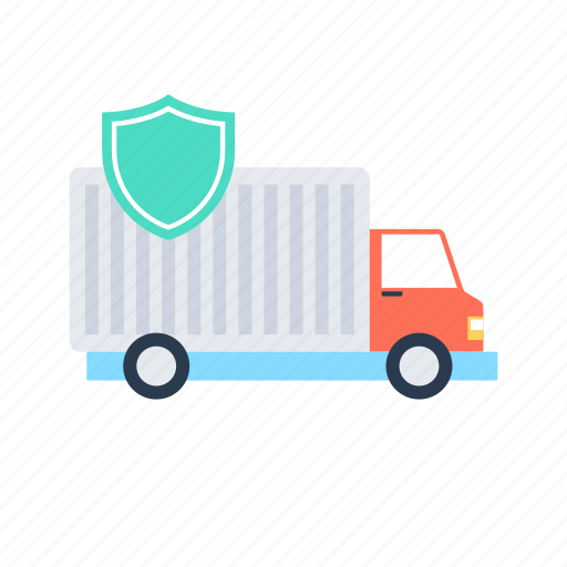 delivery, delivery van, secure delivery, security shield, shipping truck icon