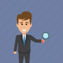audit concept, business analyst, business investigator, businessman holding magnifier, market research analyst icon