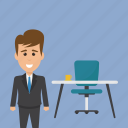 boss, businessman in office, job, office, work icon