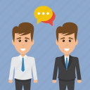 business discussion, business partners, business people, colleagues, office buddies conversation icon