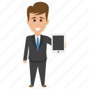 business concept, businessman holding ipad, businessman holding tablet pc, businessman showing ipad, cartoon business person icon
