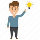 business character, businessman has an idea, businessman idea, businessman with light bulb, idea and creativity concept icon