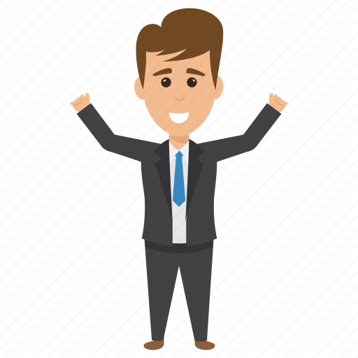 business character, joyful happy businessman, successful business person, winner emotions icon