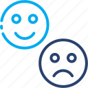 expression, happiness, impression, sad, sentiment, smile, worried icon