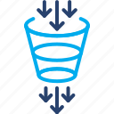 cleaning, distillation, filtering, filtration, funnel, method, purification icon