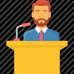 conversation, lecture, message, podium, presentation, speech, talk icon