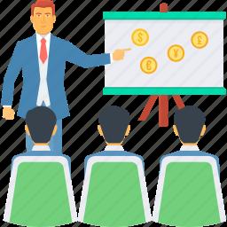 board, explain, explaination, finance, graph, presentation, revenue presentation icon