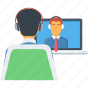 call, calling, conference, live chat, video, video call, video chat icon
