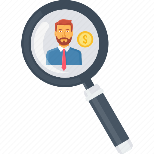 employee, find, locate, magnifier, money, search, zoom icon