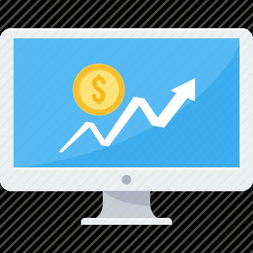 computer, dollar, finance, financial, growth, presentation, revenue icon