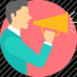 advertisement, announcement, broadcast, declaration, sound, speaker icon