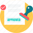achievement, approved, stamp, stamping, success icon