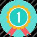 badge, achievement, award, reward, ribbon, one, 1