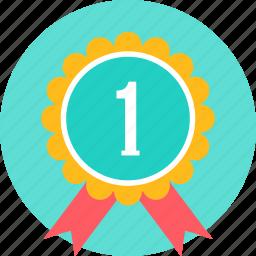 achievement, award, badge, one, reward, ribbon icon