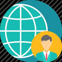 bank, business, employee, global, gps, representative, world icon