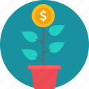 bank, business, cash, finance, making, money, plant icon
