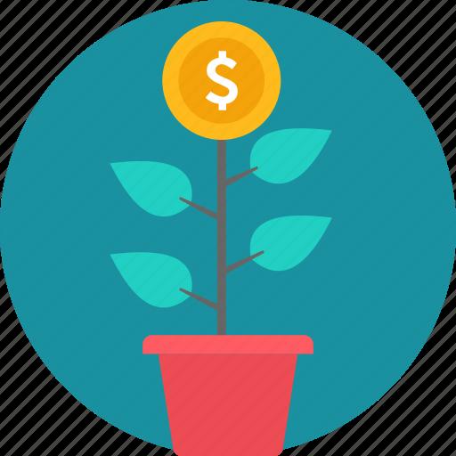 bank, business, cash, finance, making, money, plant icon