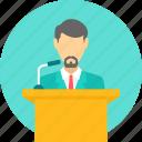speech, conversation, lecture, talk, presentation, dais, podium