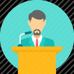 conversation, dais, lecture, podium, presentation, speech, talk icon