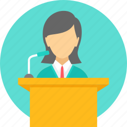 conversation, employee, lecture, mike, podium, speech, talk icon