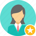 employee, female, achievement, badge, business, woman