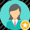 achievement, badge, business, employee, female, woman icon