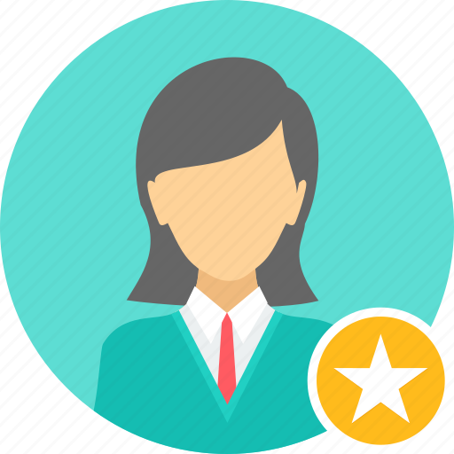 achievement, badge, business, employee, female, woman icon