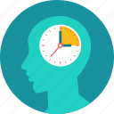 brain, clock, man, thinking, time, time management icon