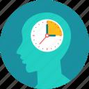 clock, thinking, brain, time, man, time management