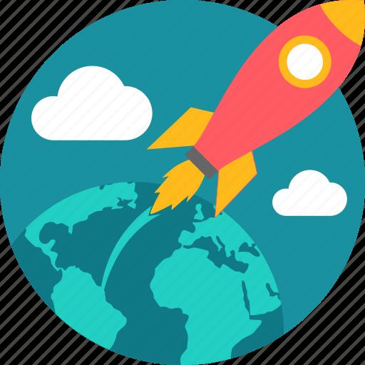 airplane, business, rocket, spaceship, speed icon