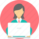 business, employee, female, lady, laptop, woman icon