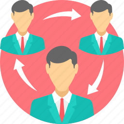 businessman, circle, cycle, employee, team, work icon