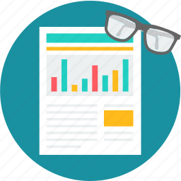analysis, document, report, review, spectacles, statistics icon