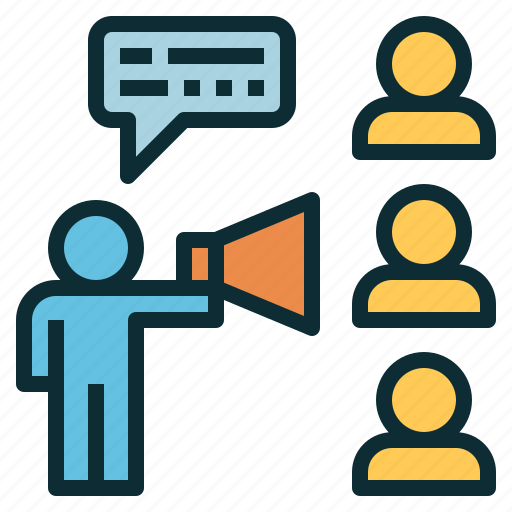 announcement, marketing, promoting, storytelling, strategy icon