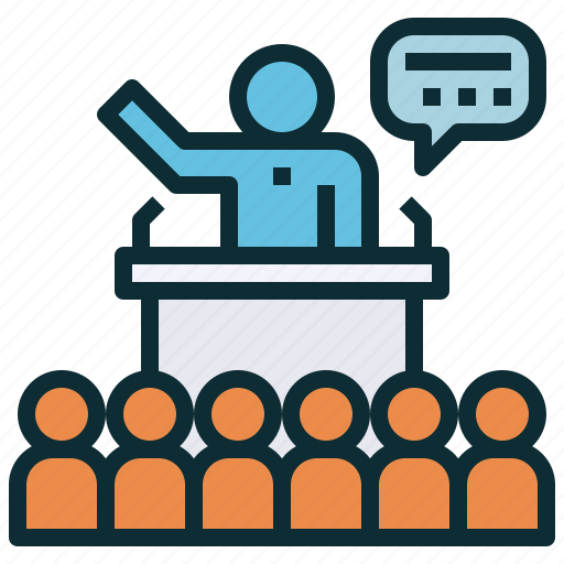 campaign, election, presentation, public, speaking icon