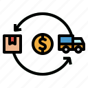 cost, delivery, money, transport, truck icon