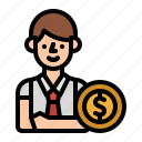 business, cost, employer, man, payroll icon