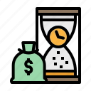 cost, historical, hourglass, investment, time icon