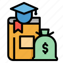 brain, bulb, cost, knowlege, money icon