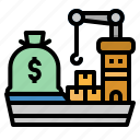 boat, cost, delivery, ship, shipping icon
