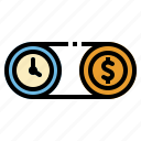 business, clock, cost, money, time icon