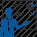 encourage, training, analysis, board, presentation, report icon