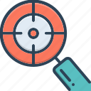 focus, cynosure, congregation, spotlight, target, conglomeration icon