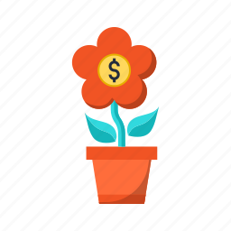 business, coin, flower, growing, investment, money, rate icon