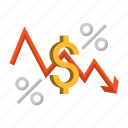 business, currency, falling, inflation, money, percent, rate icon