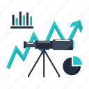 analytics, business, finance, forecast, market, telescope icon