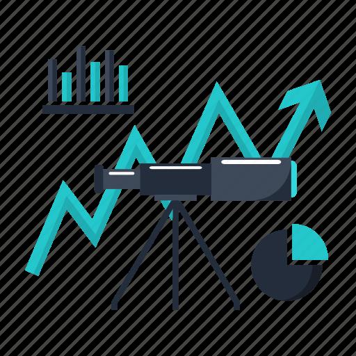 analytics, business, finance, forecast, market, telescope icon